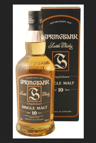 A photograph of a bottle of Springbank Whisky