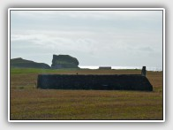 Dunaverty Mausoleum with the castle rock beyond, Mull of Kintyre