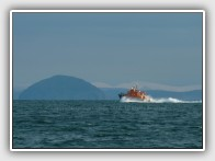 Campbeltown's all-weather lifeboat passing Ailsa Craig